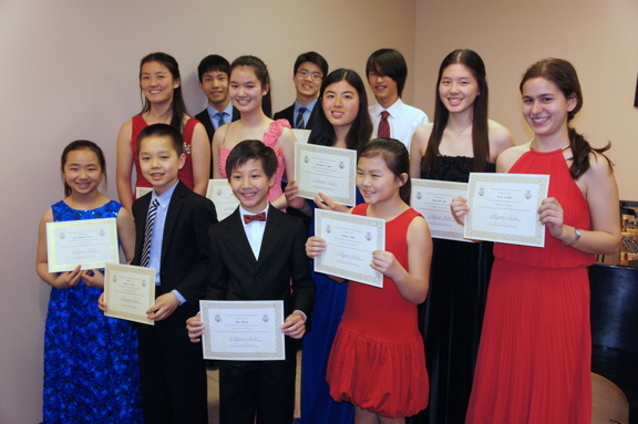The scholarship winners at the winners musicale April 26th, 2015