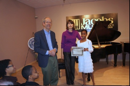 Scholarship Winner: Aaliyah Dennis with Charles Skinner, President of Steinway Society, and Marina Salganik, Aaliyah's teacher.